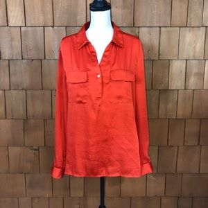 Chaus red v-neck blouse with gold buttons